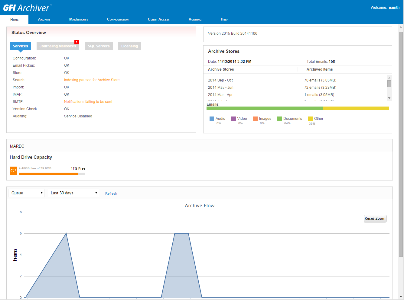Monitor operations from the dashboard