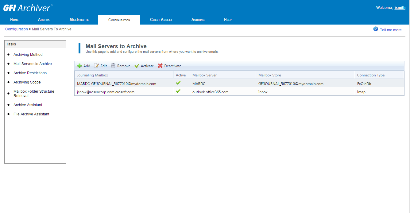 View configured servers from where emails are archived