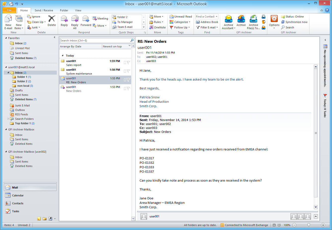 Outlook integration with stub free technology