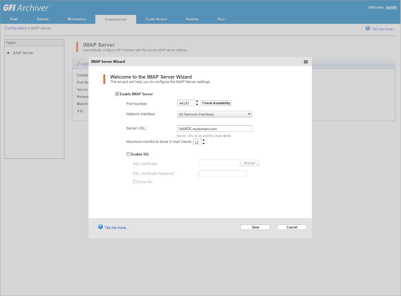 Configure IMAP for email client integration