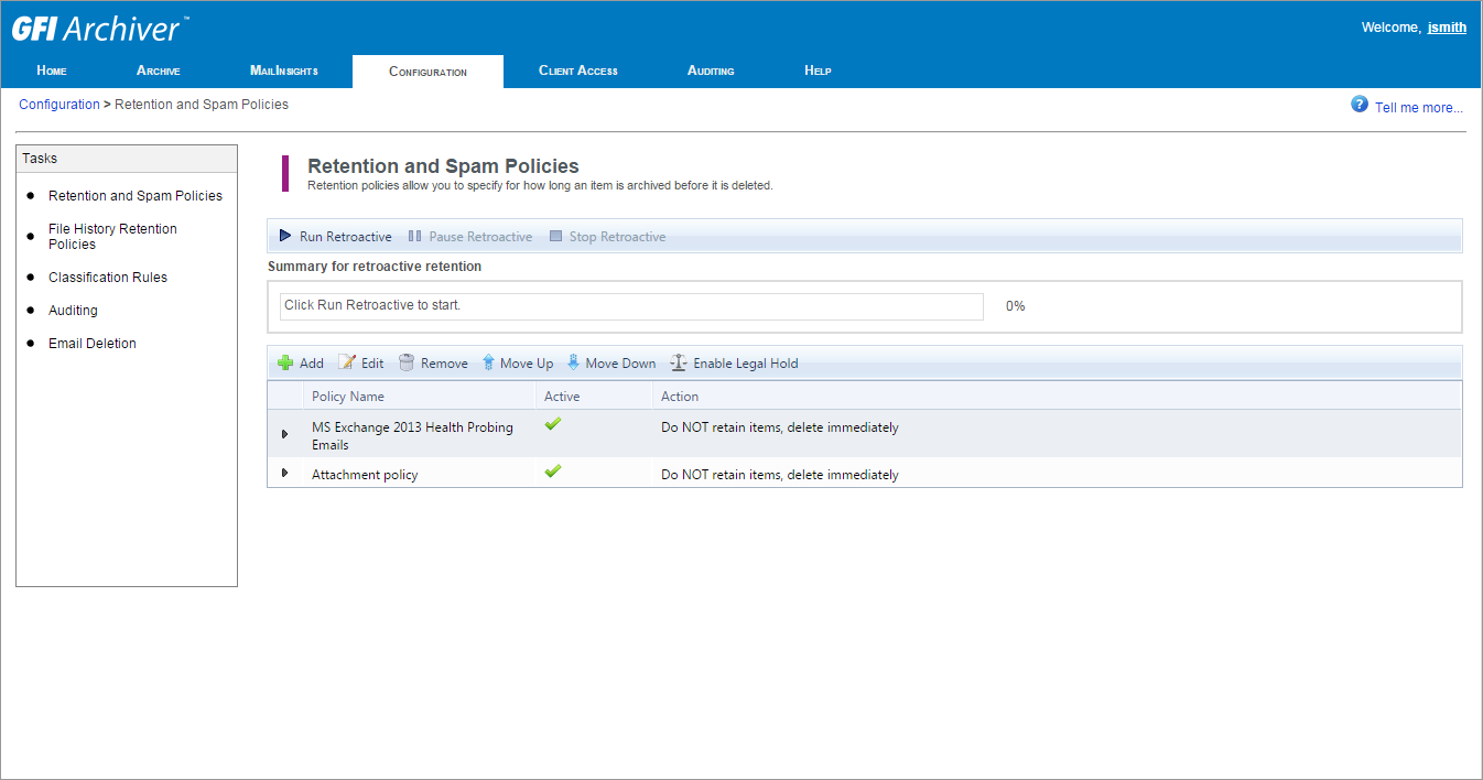 View configured retention and spam policies