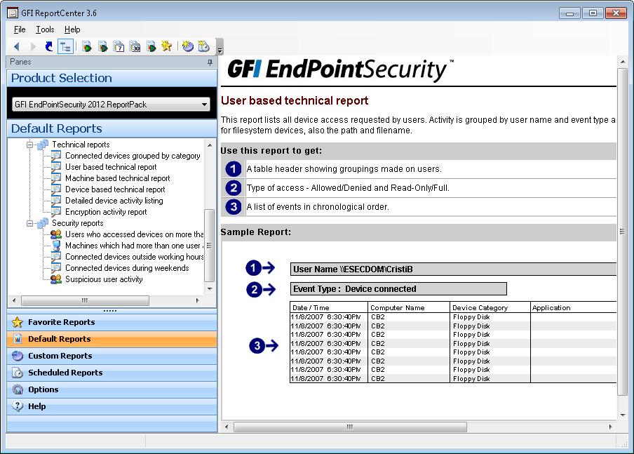ReportPack: User based technical report