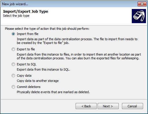 Database import export jobs