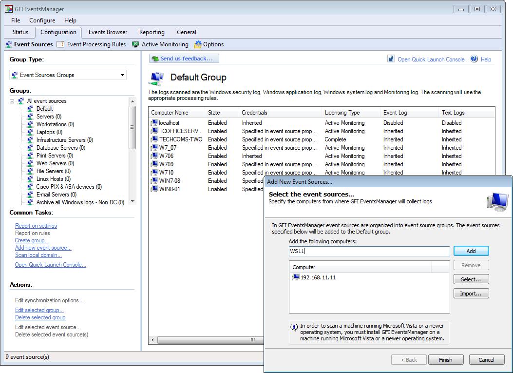 Configure sources