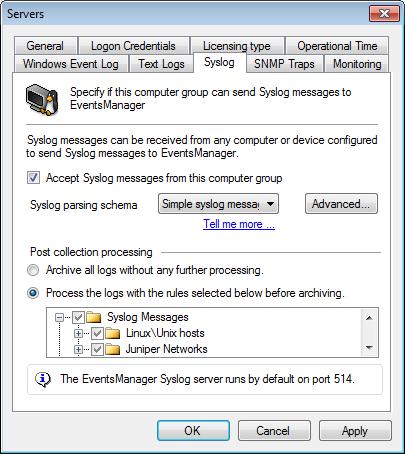 Server system logs