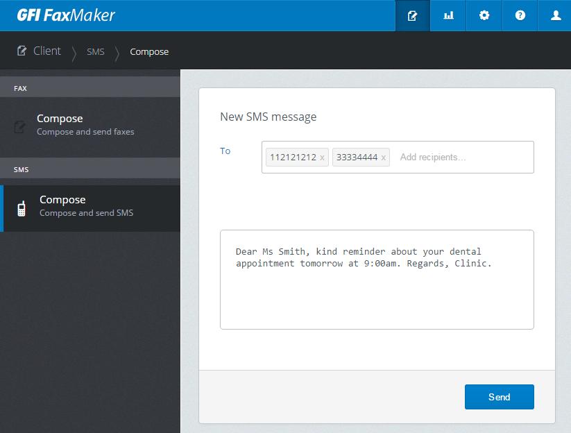 Composing text (SMS) message via client