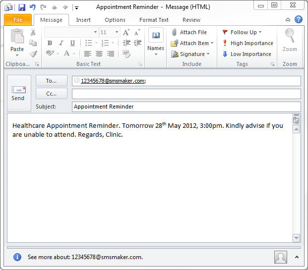 Send SMS from Microsoft Outlook
