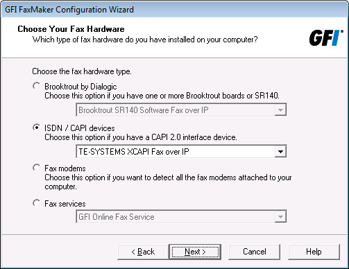 Supports Brooktrout and ISDN fax cards and modems