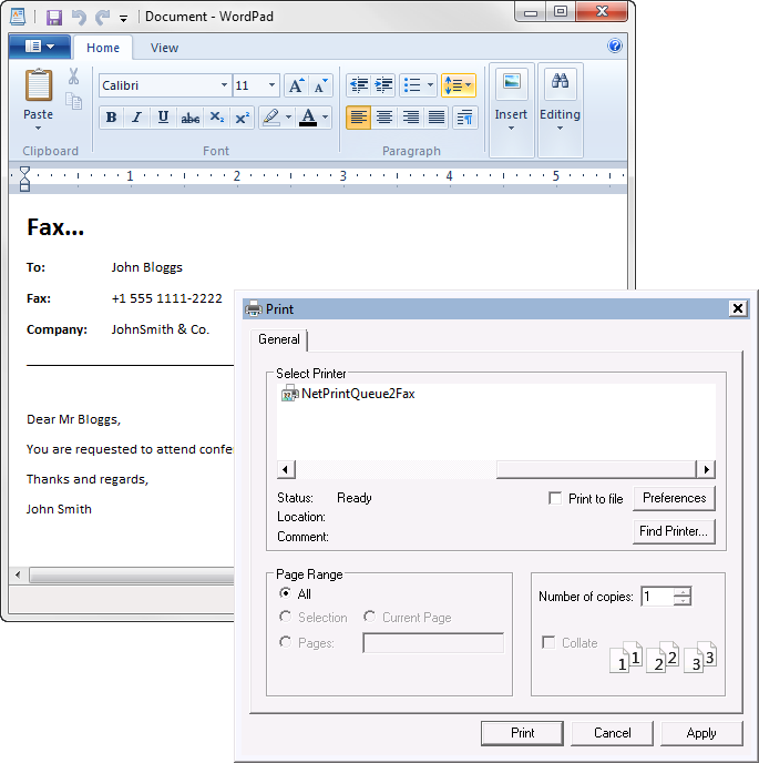Application integration using NetPrintQueue2FAX