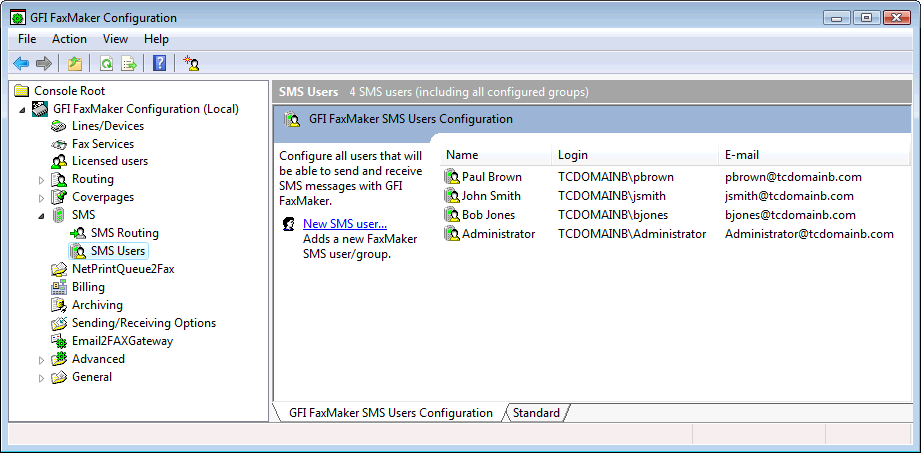 Configure which users can send and reveive SMS messages