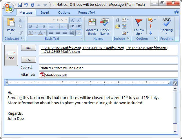 Compose a fax in Outlook