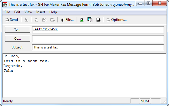 Fax message form