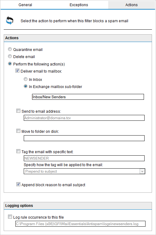 Anti-spam actions