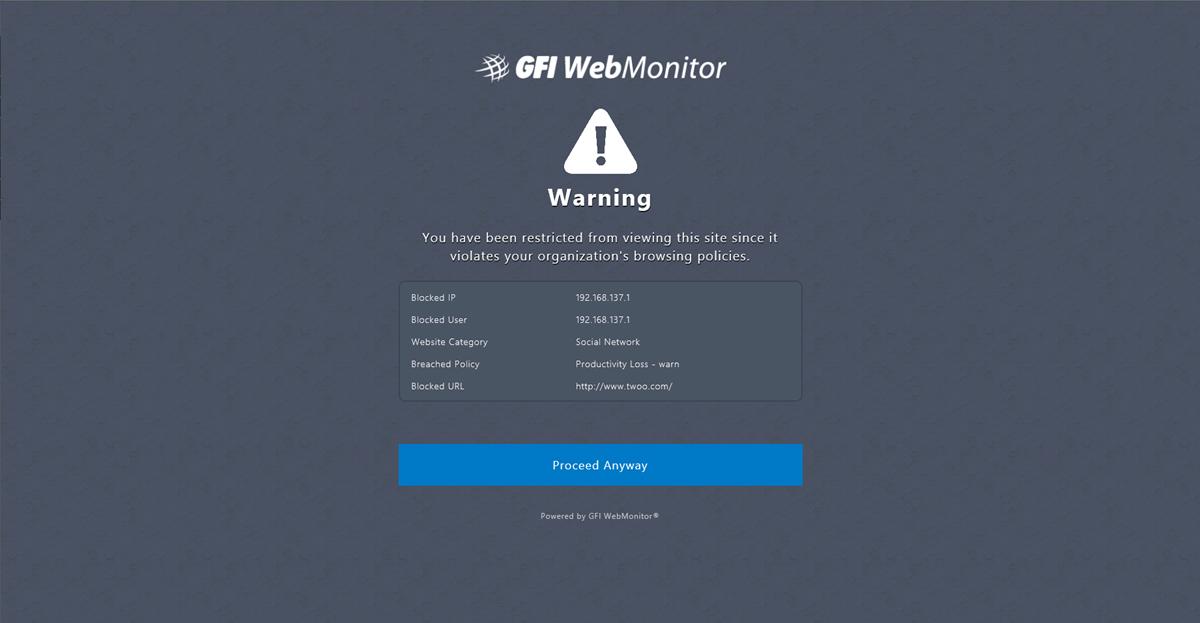 Soft blocking page